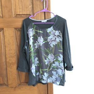 Dress Barn 3/4 Sleeve Floral Shirt Plus Size 2X